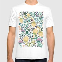 Flower Pattern Mens Fitted Tee White SMALL