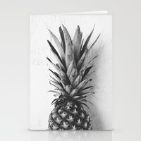 Black and white pineapple Stationery Cards