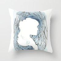 Blue Silhouette Throw Pillow
