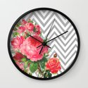 FLORAL CHEVRON Wall Clock