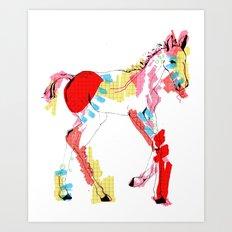 Baby horse colour Art Print