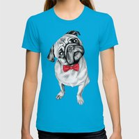 Percy Pug Womens Fitted Tee Teal SMALL