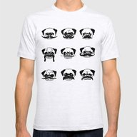 Moustaches Of The Pug Mens Fitted Tee Ash Grey SMALL