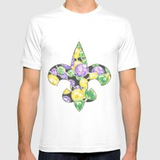 Fleur De Lis Mardi Gras Beads Mens Fitted Tee SMALL White
