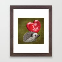 Hedgehog In Love With A … Framed Art Print
