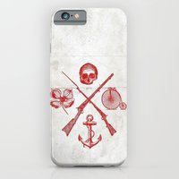 iPhone & iPod Case featuring Skull Flower Rifle Bicycle Anchor – Badge by The Modern Era
