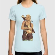 GAME OF THRONES 80/90s E… Womens Fitted Tee Light Blue SMALL