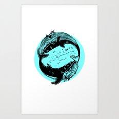Having Fun Color (Whales) Art Print