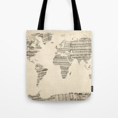 Old Sheet Music World Ma… Tote Bag