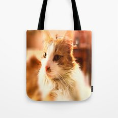 red-white cat Tote Bag