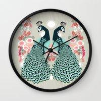 Peacocks By Andrea Laure… Wall Clock