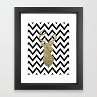 Glitter Deer Silhouette with Chevron Framed Art Print