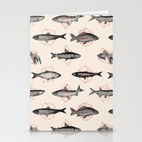 triangle Stationery Cards featuring Fishes In Geometrics (Red) by Florent Bodart / Speakerine