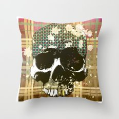 tartan skull Throw Pillow