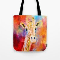 Jazzy Giraffe Colorful Animal Art by Jai Johnson Tote Bag