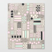 Pastel Tribal Patchwork Canvas Print