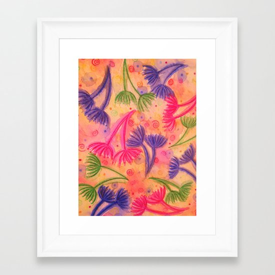 COW PARSLEY 3 - Happy Neon Pink Cherry Acid Green Nature Floral Abstract Watercolor Painting Pattern Framed Art Print