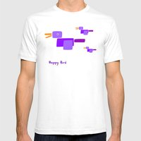Happy Bird-Purple Mens Fitted Tee White SMALL