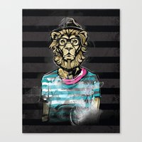 Hipster Lion on Black Canvas Print