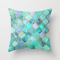 Cool Jade & Icy Mint Dec… Throw Pillow