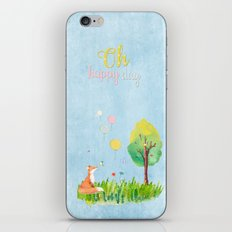 Fox- oh happy day on blue  iPhone & iPod Skin