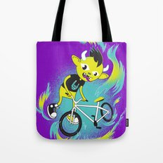 Monster Pixie Riding a Fixie Tote Bag