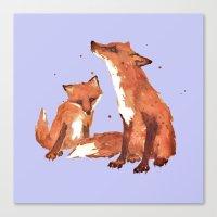 Violet  Foxes, Cute fox art, nursery foxes, nursery decor, cool brother foxes, fox pillows Canvas Print