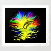 Dolphins in the Sunshine - Fantasy Rainbow-Art Art Print