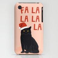 Black Cat Cute Fa La La … iPhone (3g, 3gs) Slim Case
