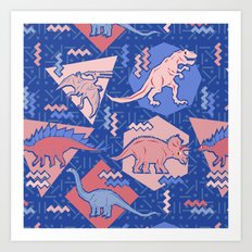 Nineties Dinosaurs Pattern  - Rose Quartz and Serenity version Art Print