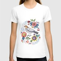 Romantic singing bird with flowers Womens Fitted Tee White SMALL
