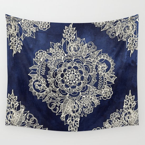 Cream Floral Moroccan Pattern on Deep Indigo Ink Wall Tapestry by Micklyn | Society6