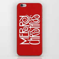 Merry Christmas Text Whi… iPhone & iPod Skin