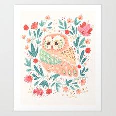 Little Pink Owl Art Print