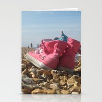 Pink shoes relaxing on the beach Stationery Cards