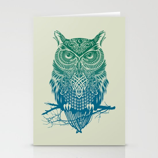 Warrior Owl Stationery Card