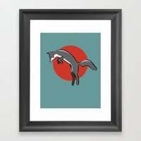 Leaping Fox Framed Art Print