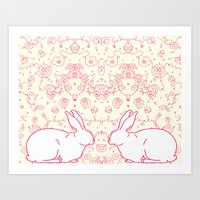 Two Rabbits Collaboration Art Print