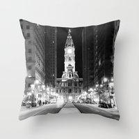 Philly by Night Throw Pillow