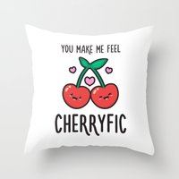 Cherryfic! Throw Pillow