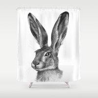 Cute Hare Portrait G126 Shower Curtain