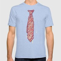 It's Bacon Tie! Mens Fitted Tee Tri-Blue SMALL