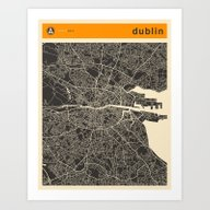 DUBLIN MAP Art Print