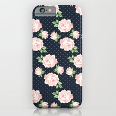 Blue and Pink Vintage Rose Pattern iPhone 6s Slim Case