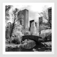 Central Park Bridge. Art Print