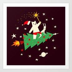 Space christmas Art Print