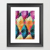 Colorful Leaves Pattern Framed Art Print