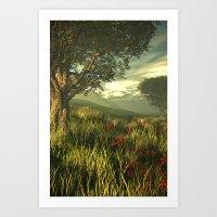Summer Tree In A Poppy F… Art Print
