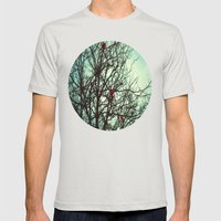 Cardinals in Winter Branches Mens Fitted Tee Silver SMALL