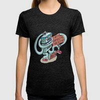 I Am A Dancing Machine Womens Fitted Tee Tri-Black SMALL